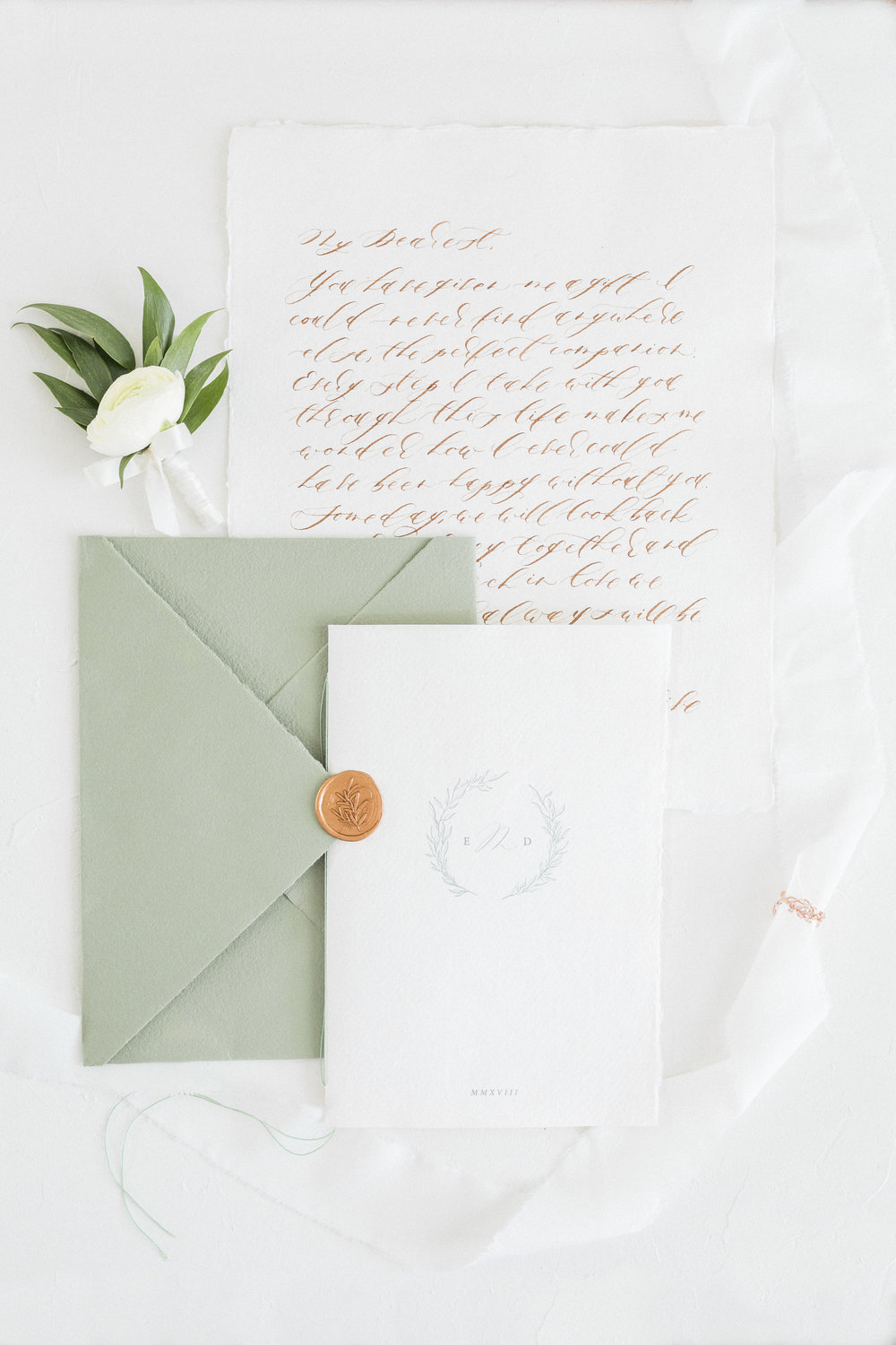 Minimal Greenery Inspired Wedding Invitation Booklet and Calligraphy Love Letter by Locust House Fine Stationery