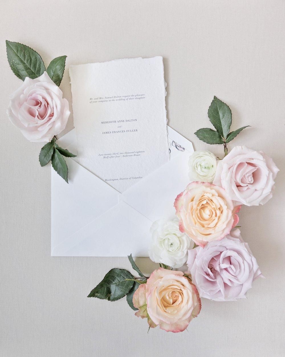 Romantic Wedding Invitation on Handmade Paper by Locust House Fine Stationery