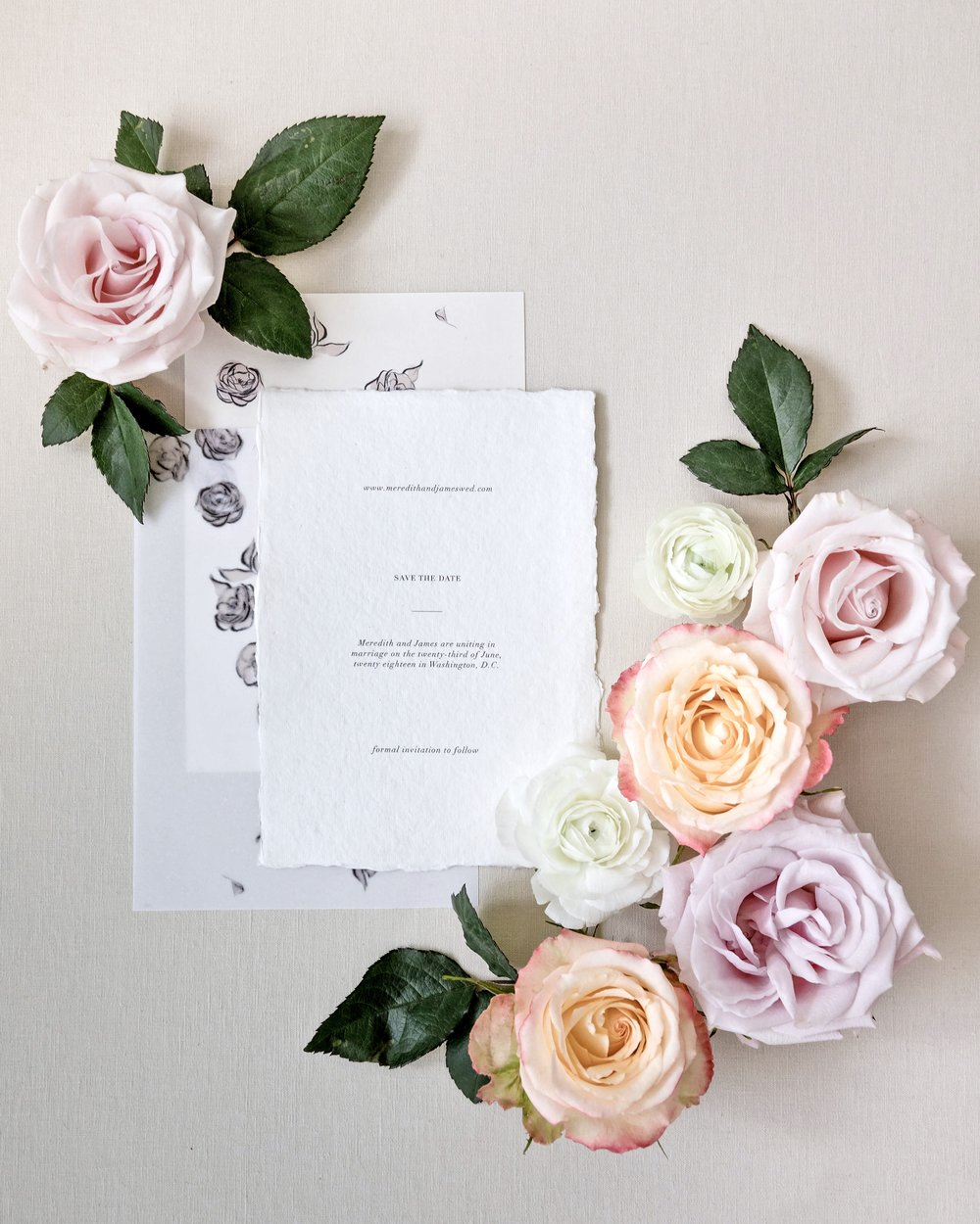 Fine Art Save the Date on Handmade Paper by Locust House Fine Stationery