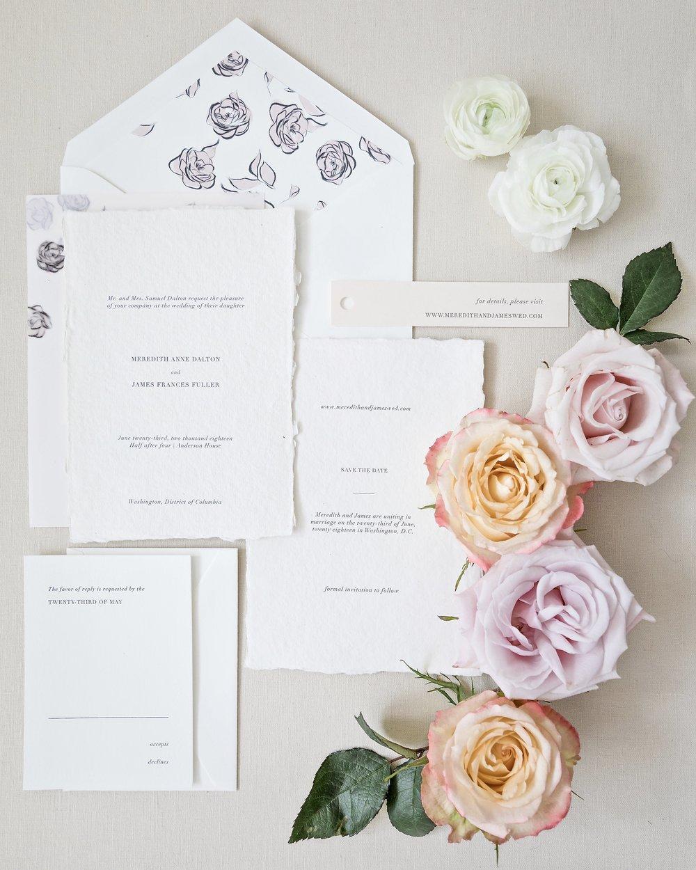 Locust House Falling Roses Wedding Invitation Suite