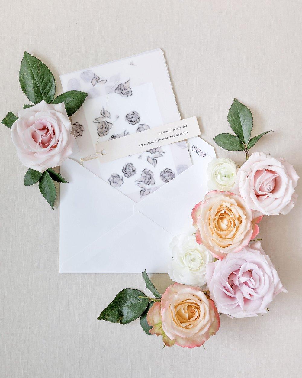 Romantic Wedding Invitation by Locust House Fine Stationery