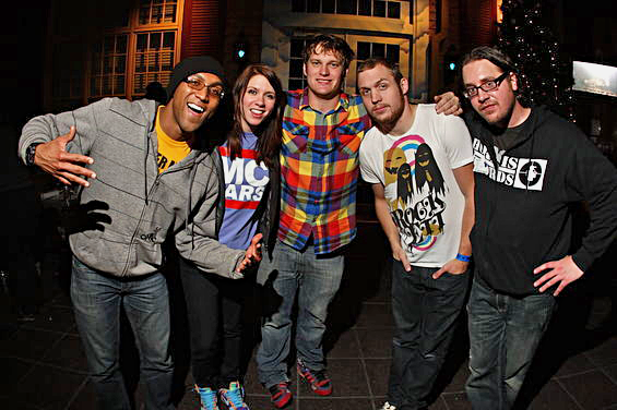 Thomas with MC Lars and K. Flay after performing at the House of Blues in Anaheim, CA.