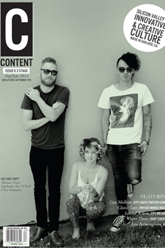 Thomas with Culture Theft on the cover of Content Magazine.