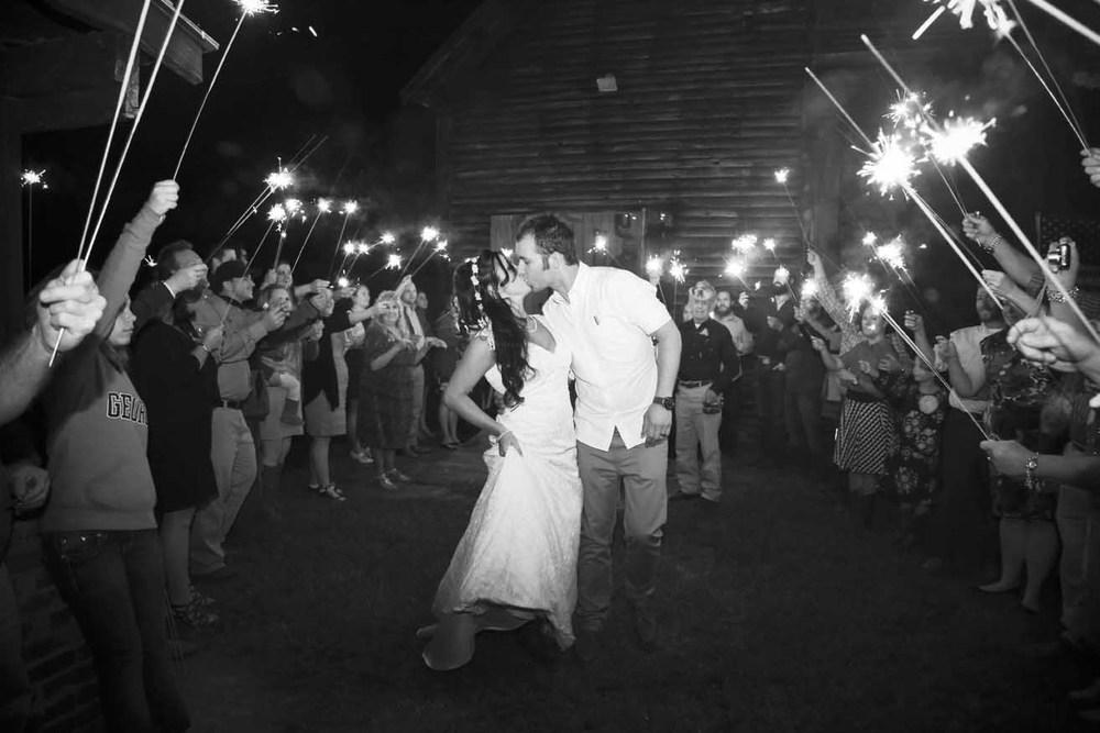 Country Rustic Wedding Sparkler Exit   Morgan County Georgia