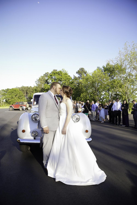 Bride and Groom Classic Car Exit   Athens Georgia Fall Church Wedding