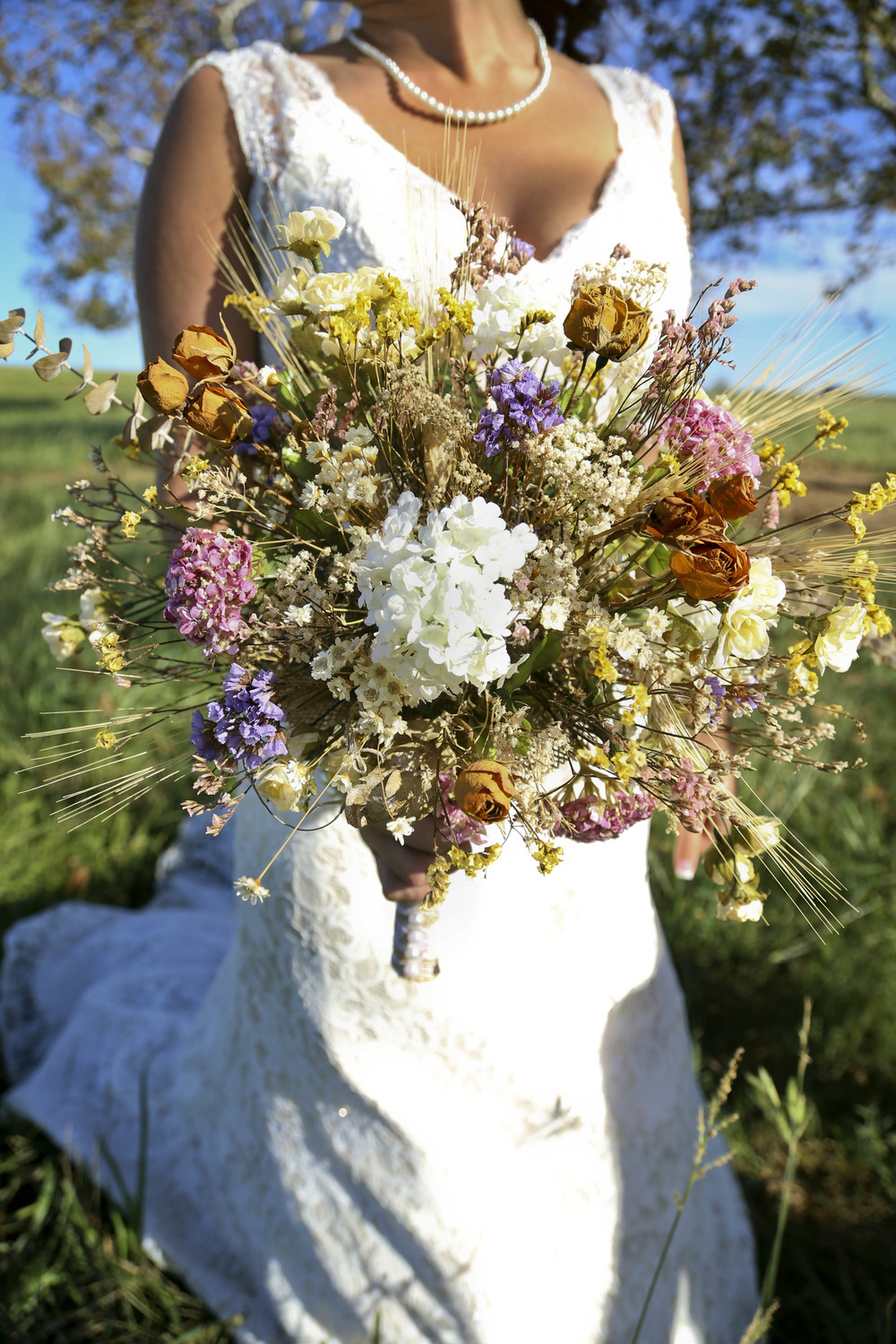 Fall Country Rustic Wedding Dried Floral Bouquet   Morgan County Georgia