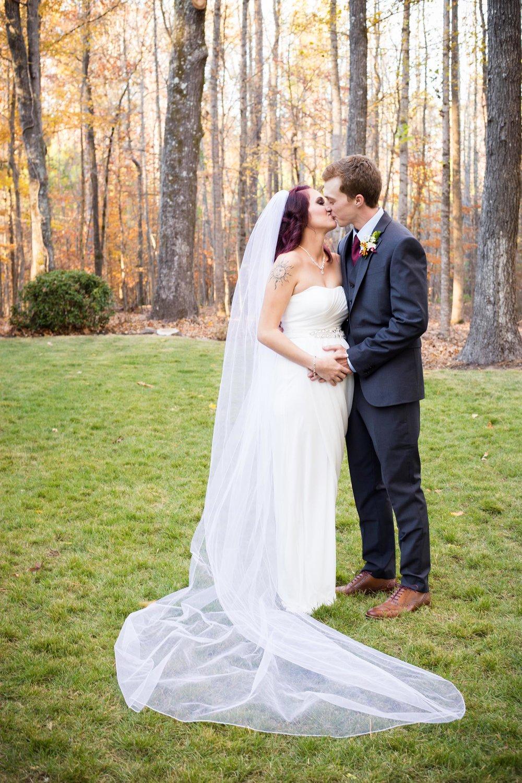 Bride and Groom   Fall Wedding Simpsonwood Park   Norcross Georgia