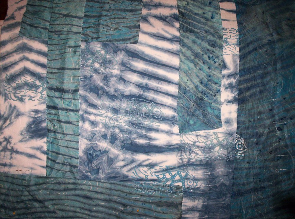 Detail from Sea Scrolls Wood Block on Silk & Cotton by Lynne Britten