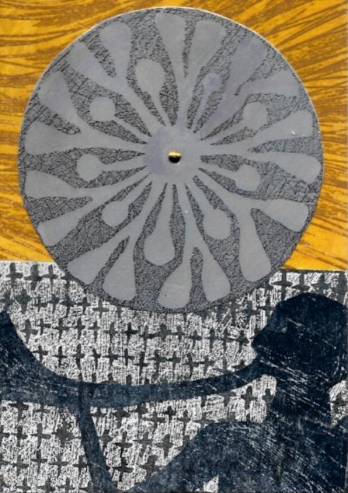 Sun Votive 3 12.5x18cm Collagraph Aluminium Plate on boatd 2016.jpg