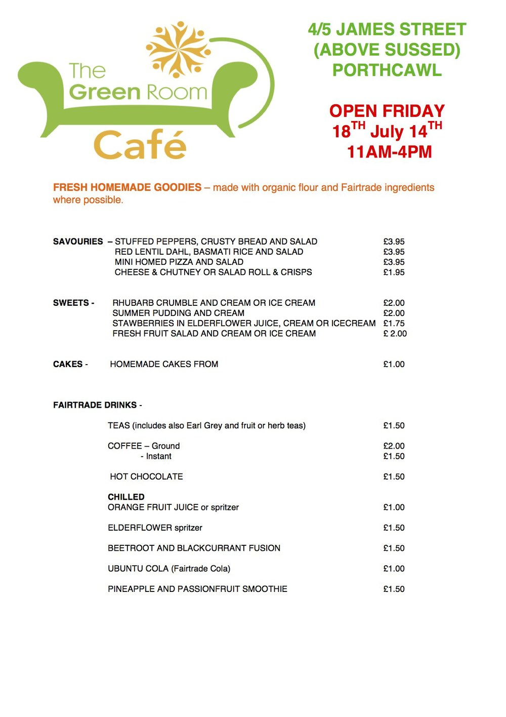 Green Room Café Menu 18 July 2014