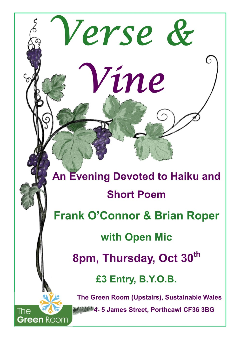 Verse & Vine 8pm, Thursday Oct 30th at the Green Room above SUSSED