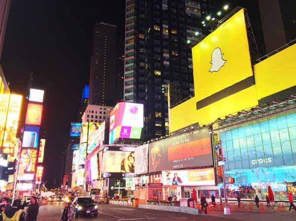 Snapchat in Times Square.