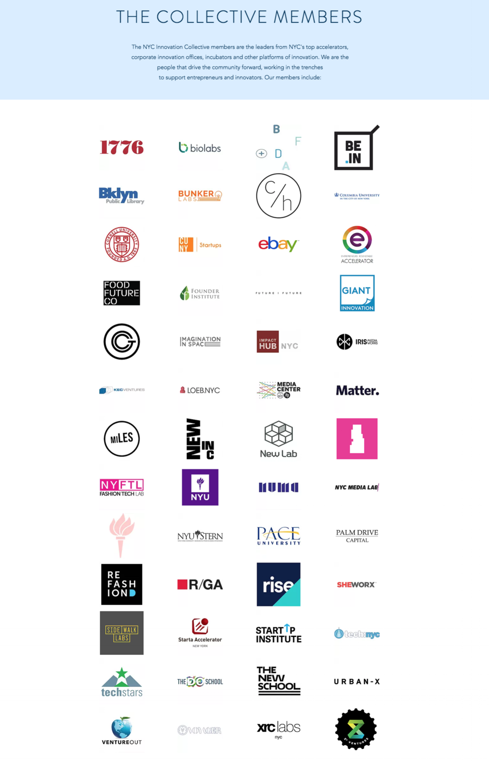 New York City Innovation Collective Members