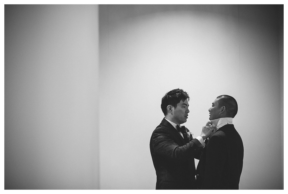 wedding, Arcadian Court, groom, black and white, Tom Ford, getting ready, wedding day, classic, modern, intimate, urban