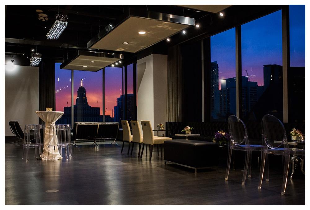 wedding, reception, Toronto, Arcadian Court, sunset, city sunset, elegant, intimate, classic, urban, modern,