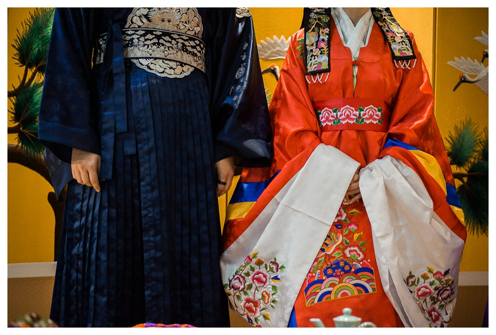 wedding, Arcadian Court, tradition, Chinese wedding, Korean wedding, kimono, Asian, family, red, blue, bride and groom, couple, intimate
