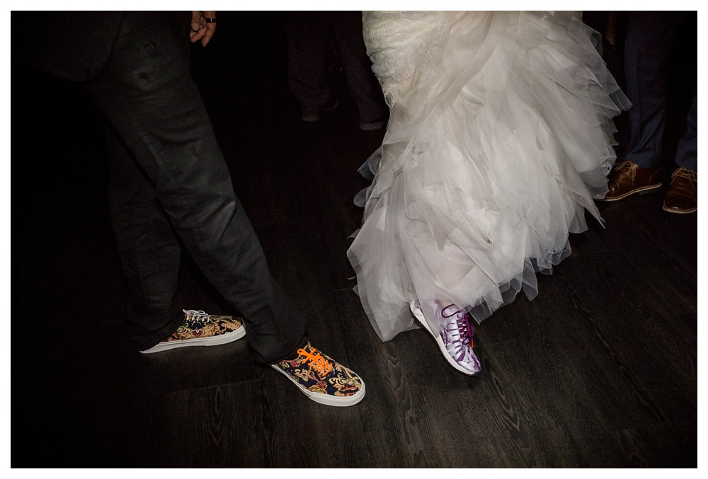 wedding, dancing, Arcadian Court, classic, modern, intimate, Vans, dancing, sneakers, bride and groom, wedding fun, reception,
