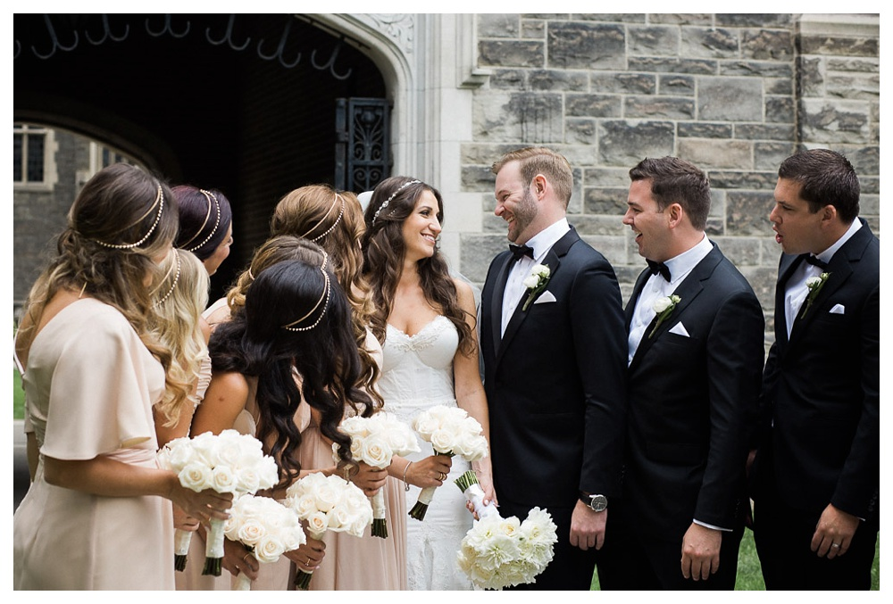 White Toronto, luxe, wedding, wedding dress, Gardiner Museum, 99 Sudbury, Ashley Lindzon, wedding party, bridesmaids, Toronto, University of Toronto, flowers, bouquet