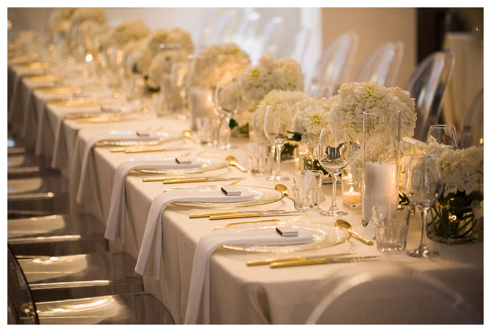 White Toronto, luxe, wedding, wedding dress, Gardiner Museum, 99 Sudbury, Ashley Lindzon, tabletop, golden flatware, Berries and Bloom, centerpieces, flowers, gold, wedding table
