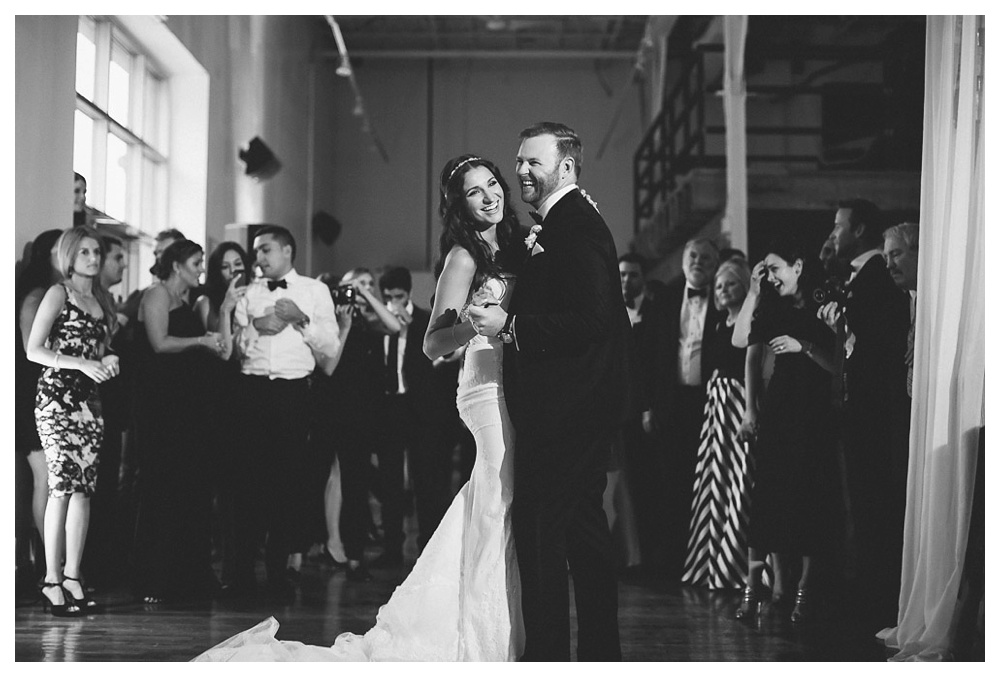 White Toronto, luxe, wedding, wedding dress, reception, first dance, bride and groom, dancing, party, black and white, 99 Sudbury, Ashley Lindzon, first dance, happy, Danijela Weddings