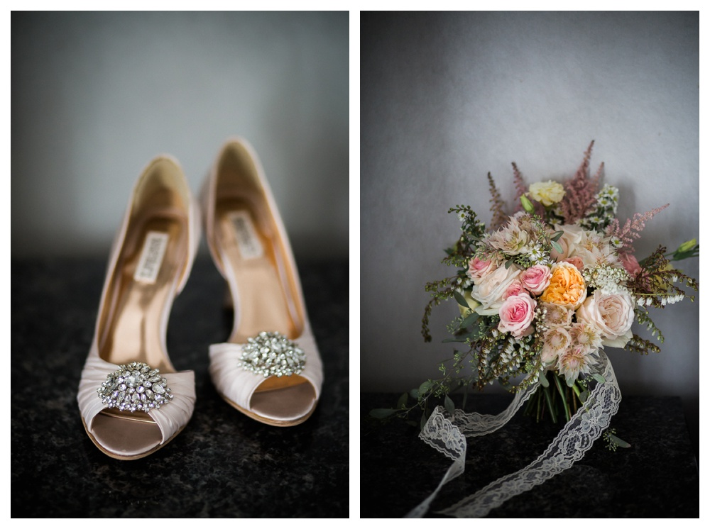 Ravine Winery, wedding, romantic, Niagara-on-the-lake, Blush and Bowties, wedding shoes, Badgley Mischka, Jen Pogue, sparkles, wedding flowers, lace, roses, bouquet,