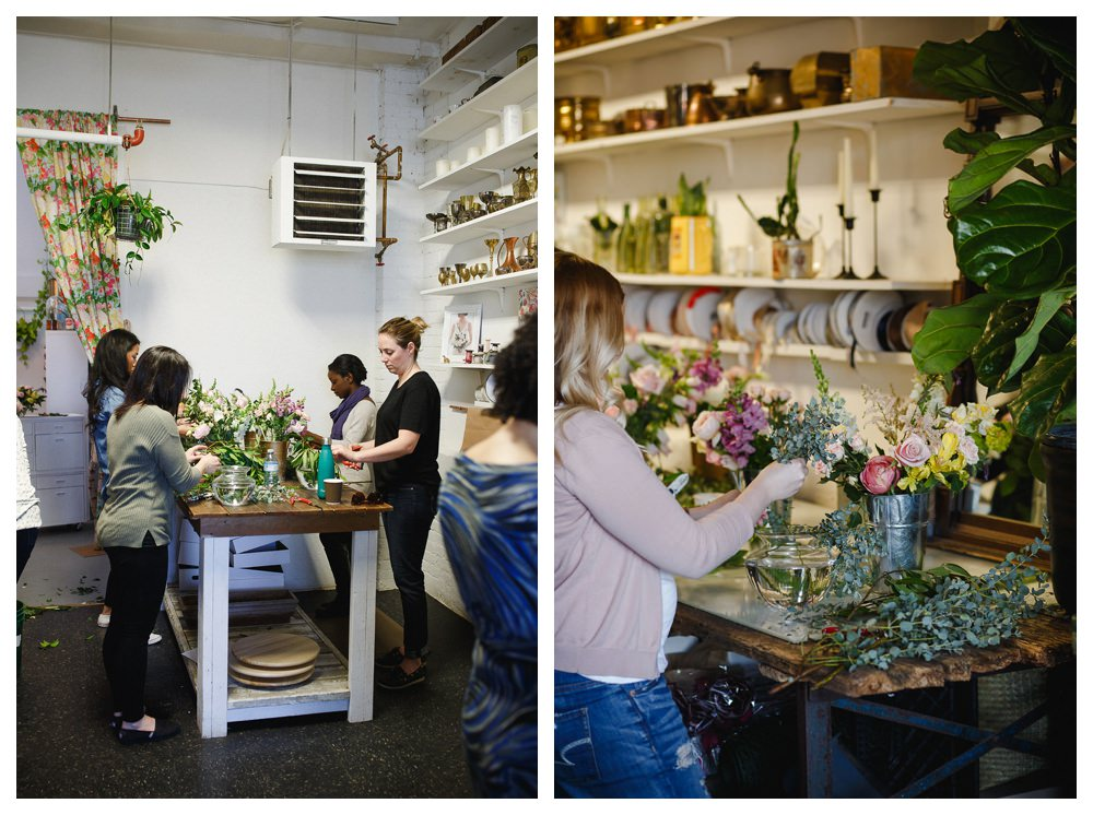 Students arranging flowers at Blush and Bloom workshop in Toronto.