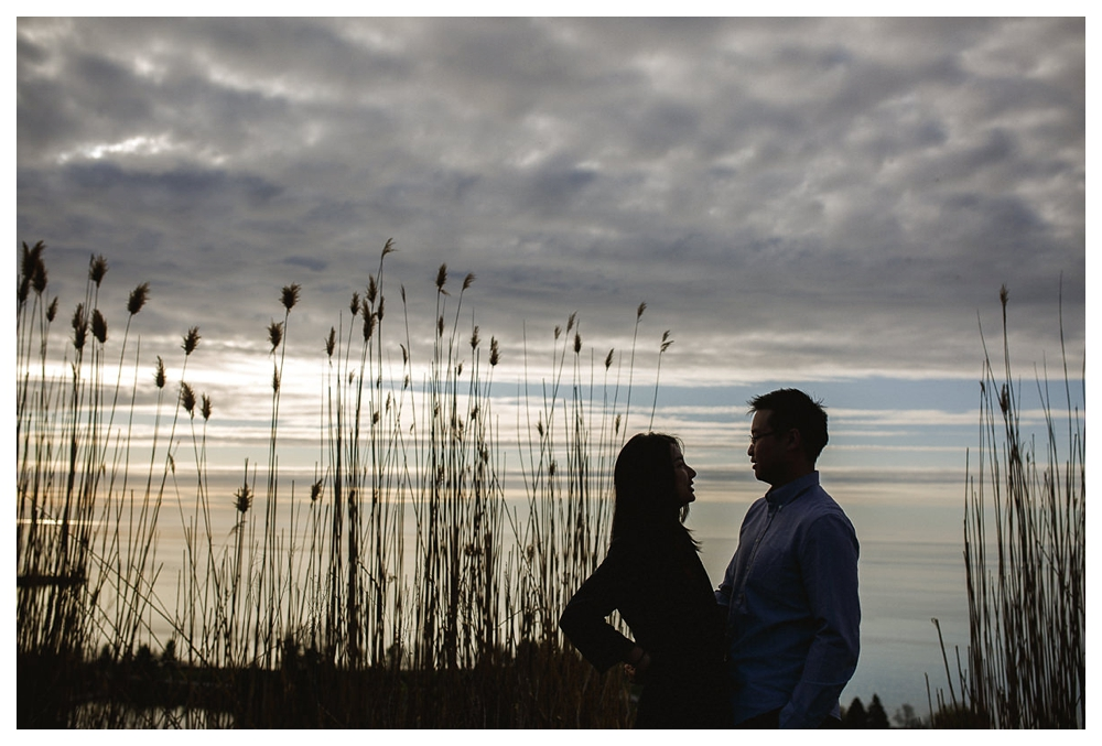 Sunrise engagement photo shoot at the Scarborough Bluffs.
