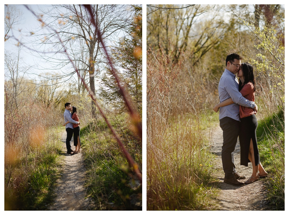 Exploring the trails of Scarborough Bluffs to find the best spot for that perfect engagement photo.
