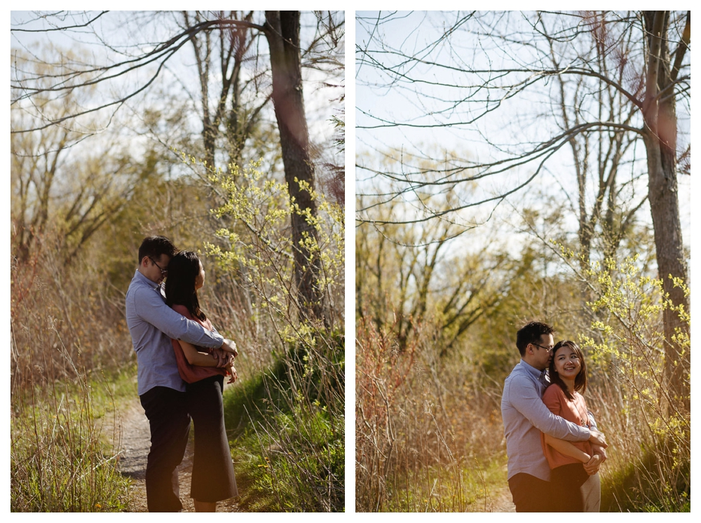 When the perfect spot for the photo is found, nothing blends better with the trees and the sunshine than the love of the embrace of the bride and groom.