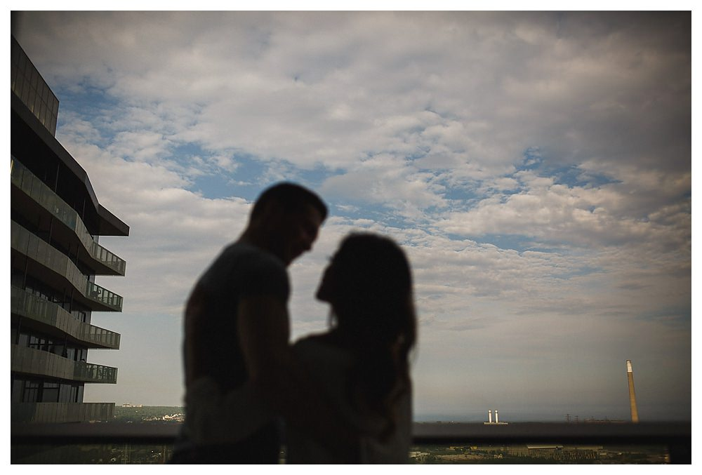 The clouds clear over the couple on their engagement photo day.