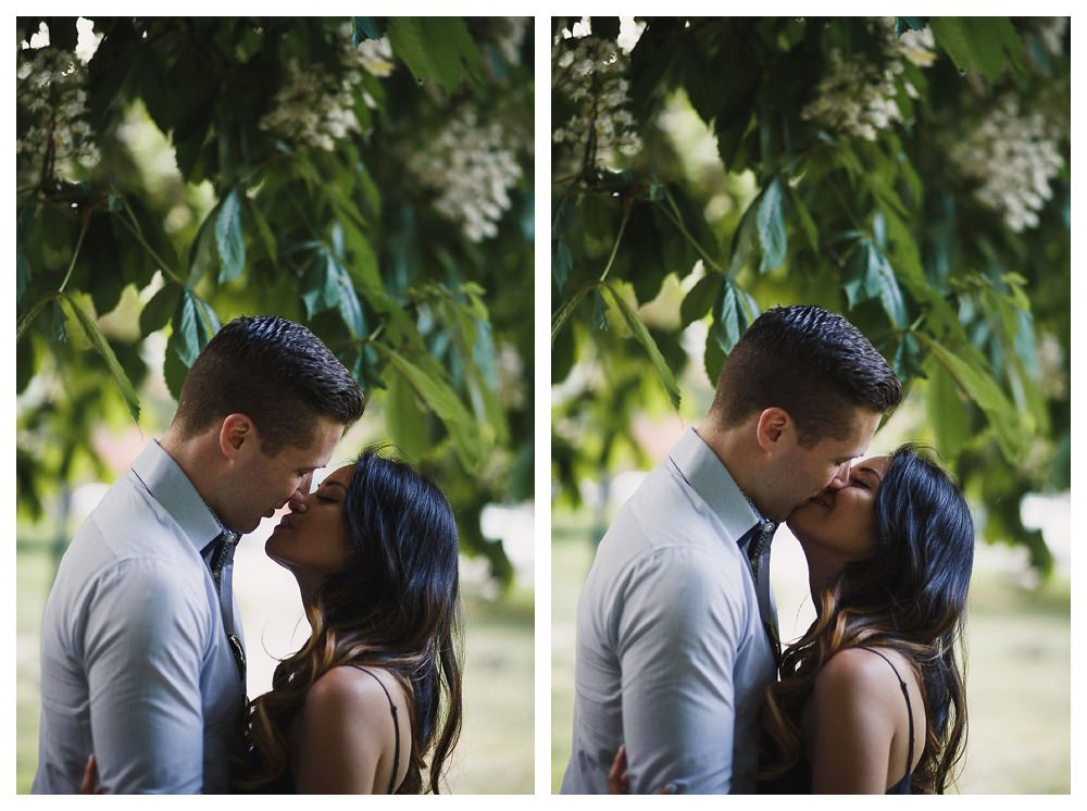 The fragrant smell of the trees in the park shields the groom and the bride for their engagement photo day kiss.