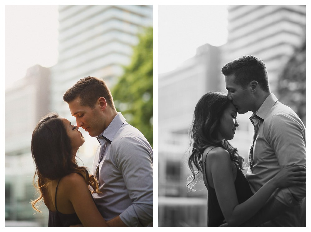 With the sunset in the city of Toronto, the engagement photo shoot comes to a close for this young urban couple.