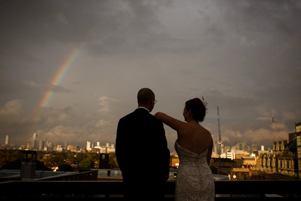 Rooftop rainbow at Gladstone Hotel Toronto.