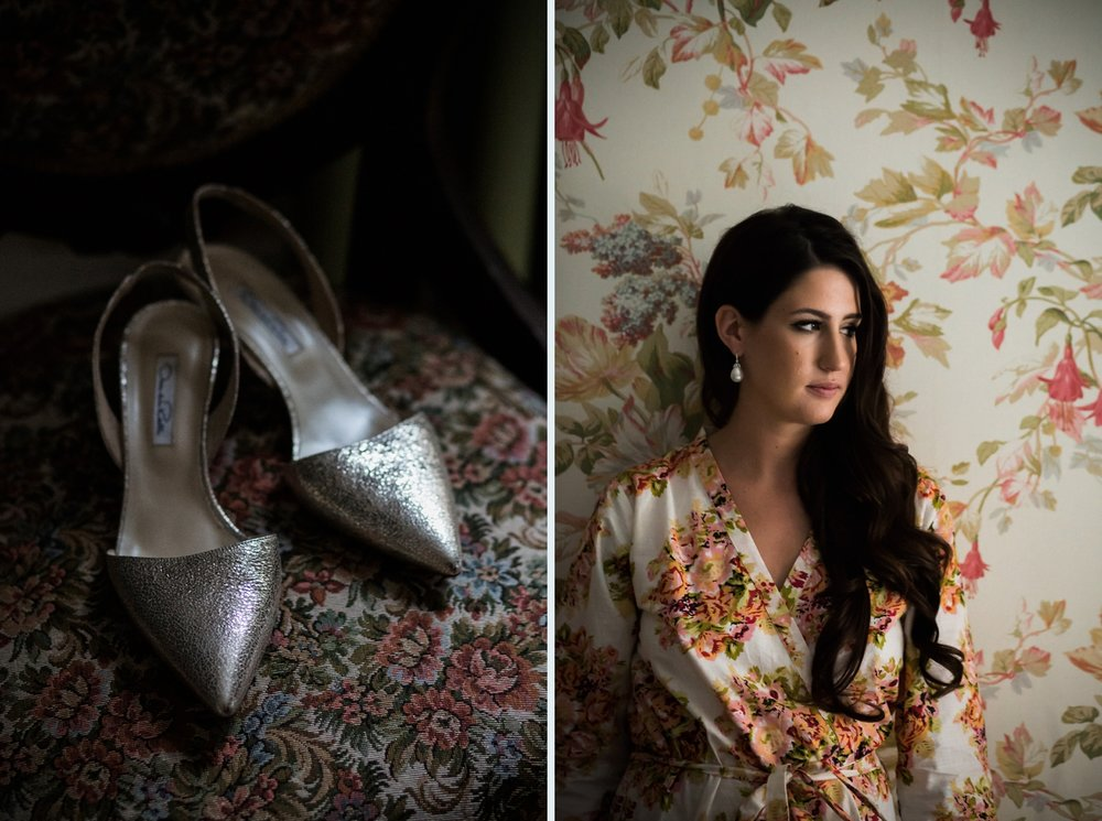 Bride and shoes on floral wallpaper in Niagara wedding.