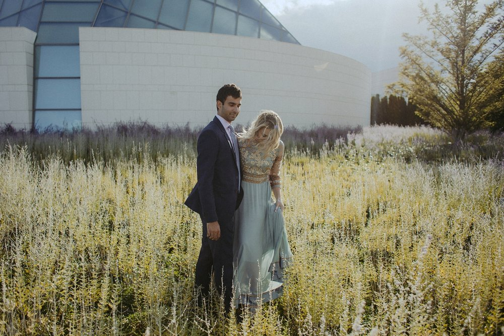 Couple in lavender field for engagement photos.