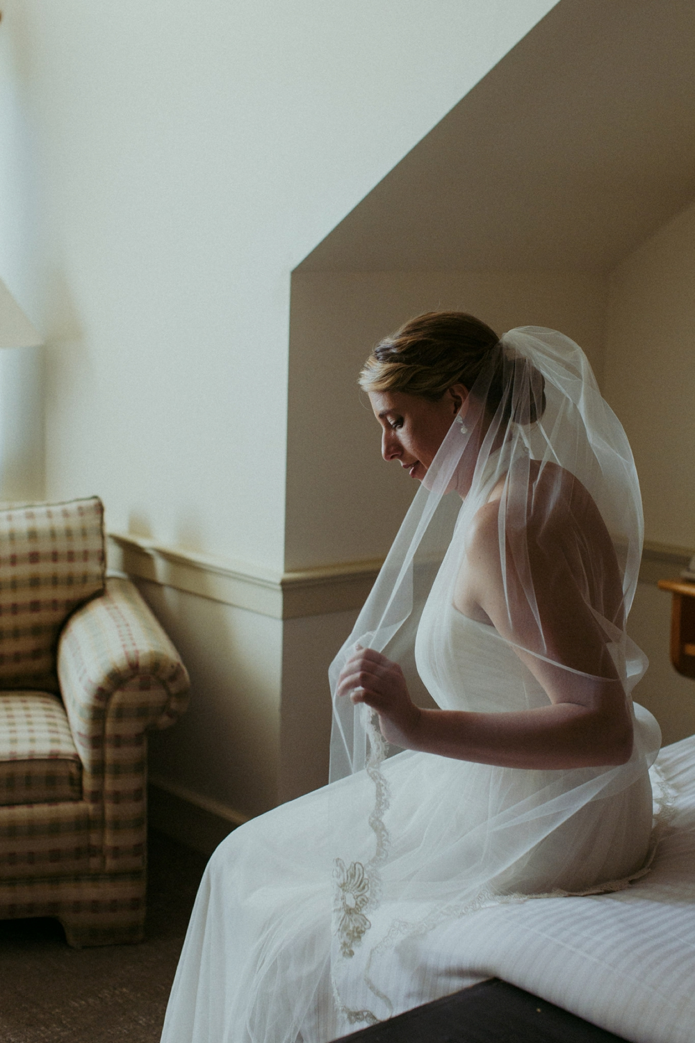 Bride and veil at Vermont wedding.