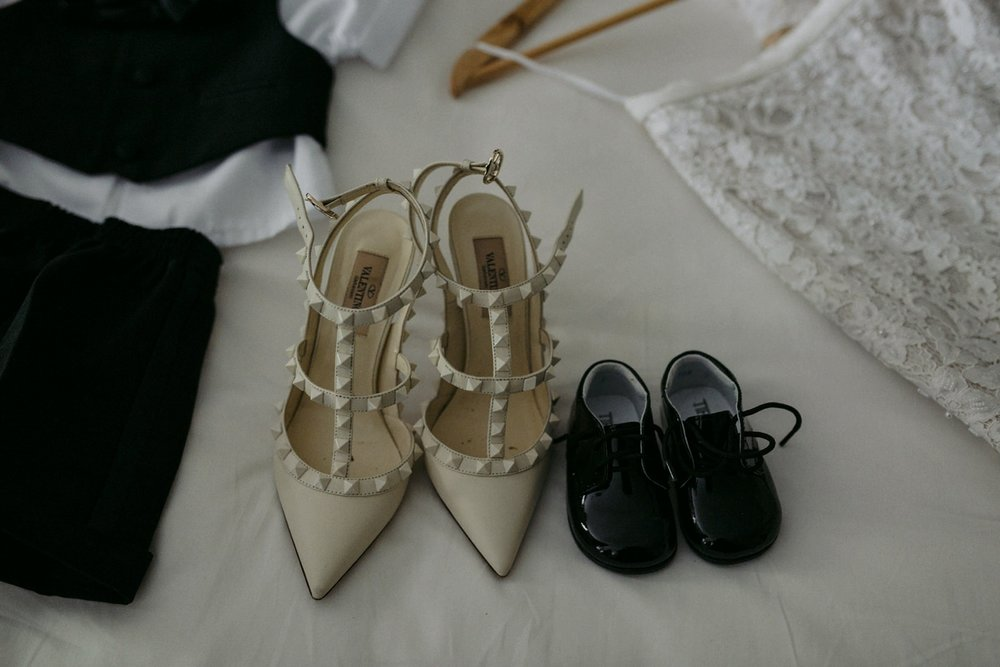 Bride and baby shoes at Toronto wedding.