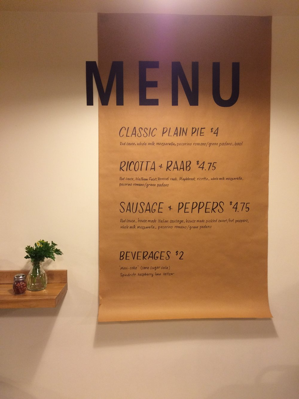 Menu for Rabottini's Pizza Pop Up