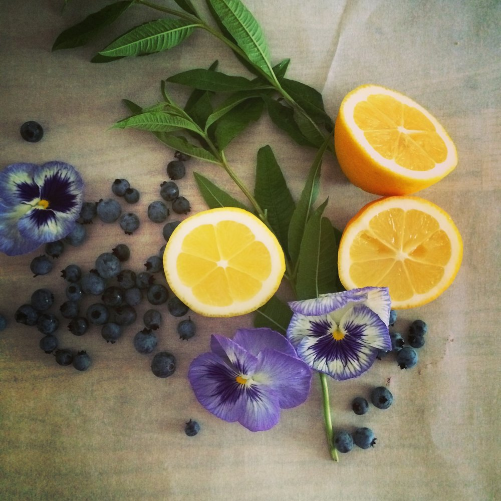 Wild Maine blueberries, lemon verbena, edible pansies, Meyer lemons