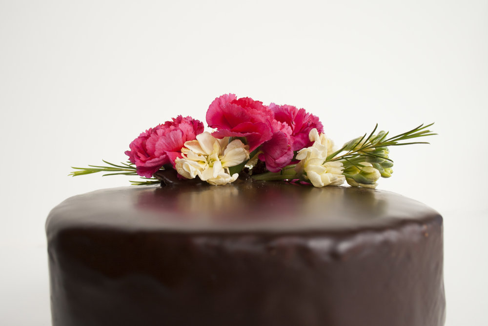 Flowers on a Chocolate Cake