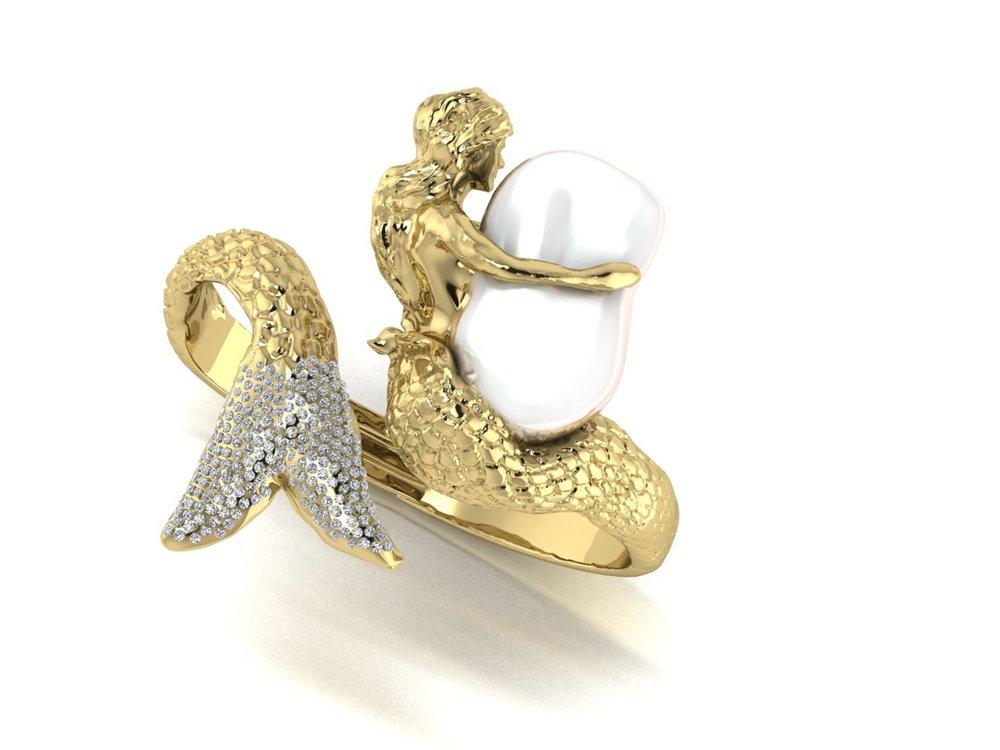 Bangle Rendering  18k gold, Keshi Pearl, Diamonds