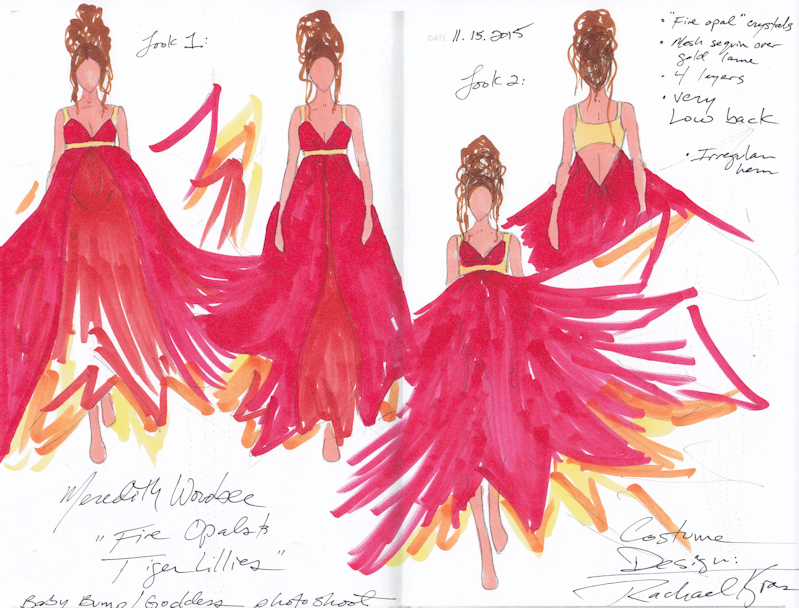 Gown sketches by Costume Designer  Rachael Kras