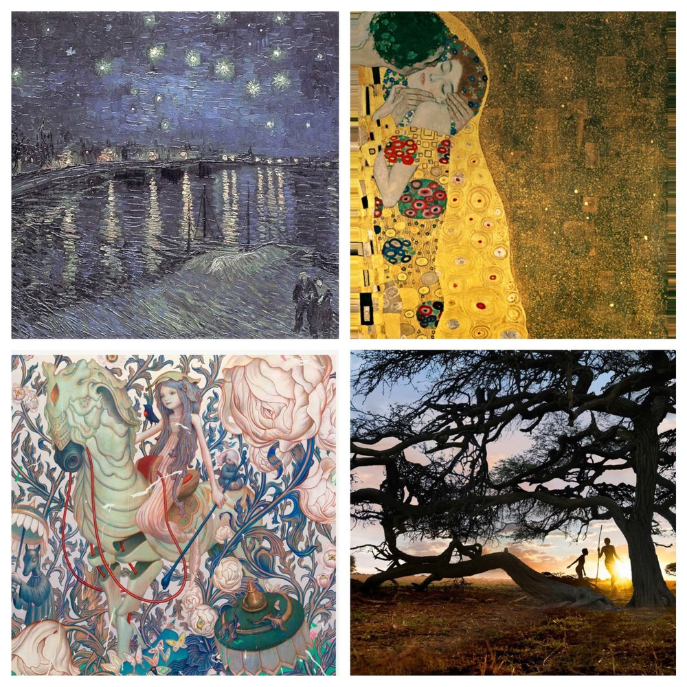 Clockwise: Vincent Van Gogh, Gustav Klimt, Steve McCurry and James Jean