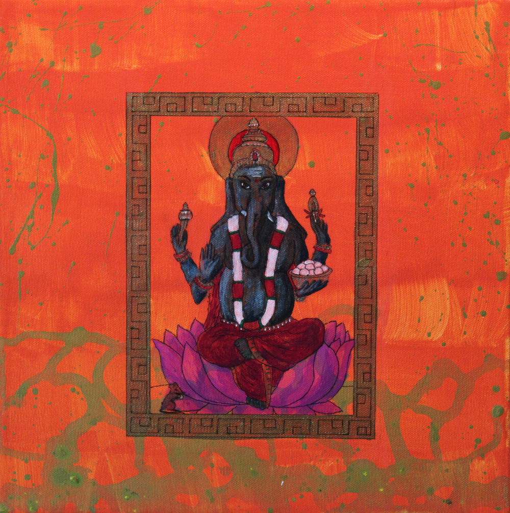 Ganesh - the Remover of Obstacles (always helpful to have on your side). Acrylic on canvas 12x12