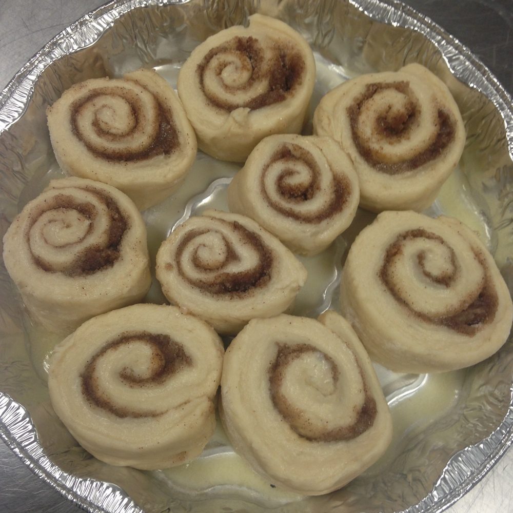 Homemade Cinnamon Rolls ready for the oven or Freezer