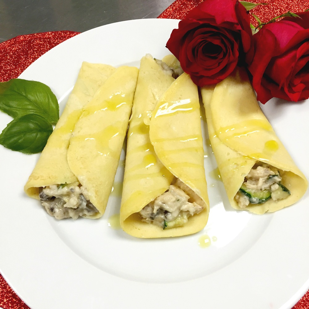 Chicken & Veggie Savory Crepes to make at home. ChefShayna.com