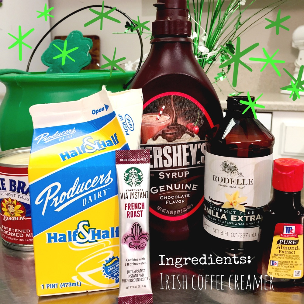 Ingredients for Homemade Irish Coffee Creamer. Easy DIY recipe to start your St. Patrick's Day of with a little Luck of the Irish. www.ChefShayna.com
