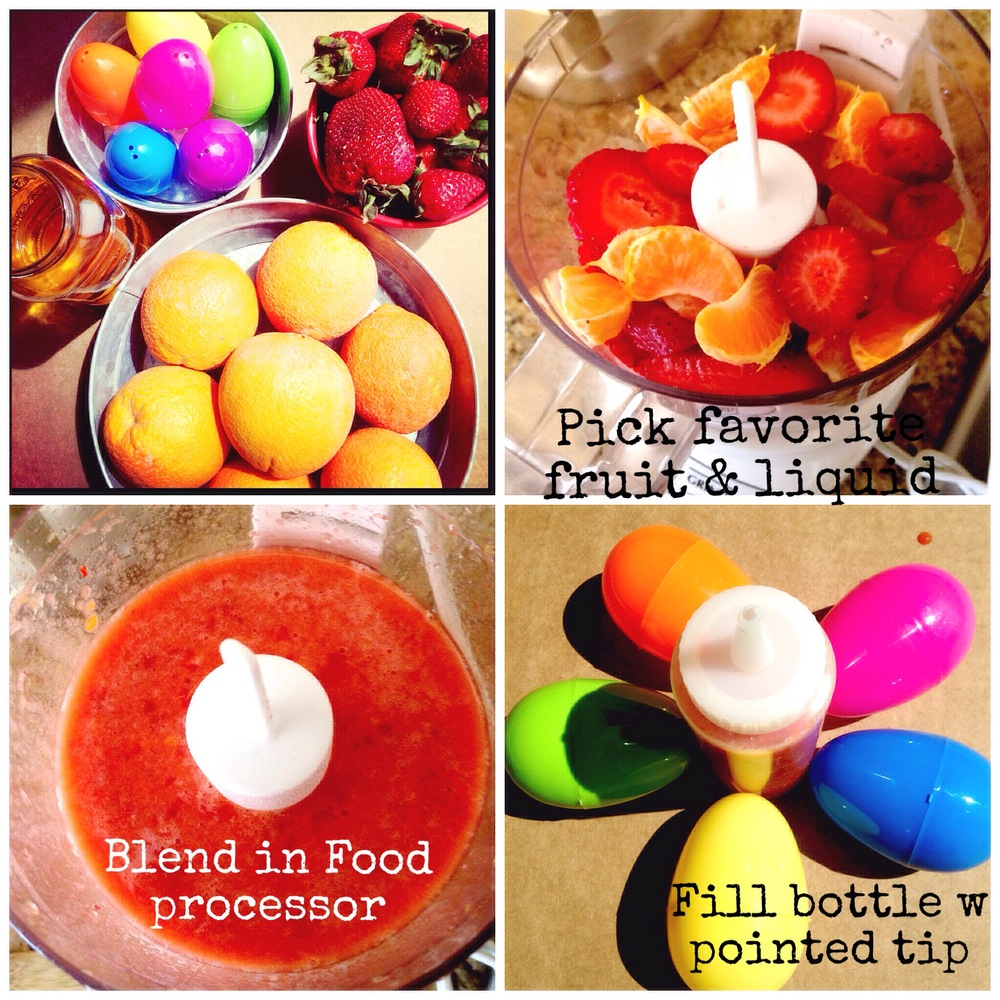 1. Blend Fruit & Juice 2. Fill piping bottle 3. fill washed egg 4. Put in freezer to set 5. Enjoy!