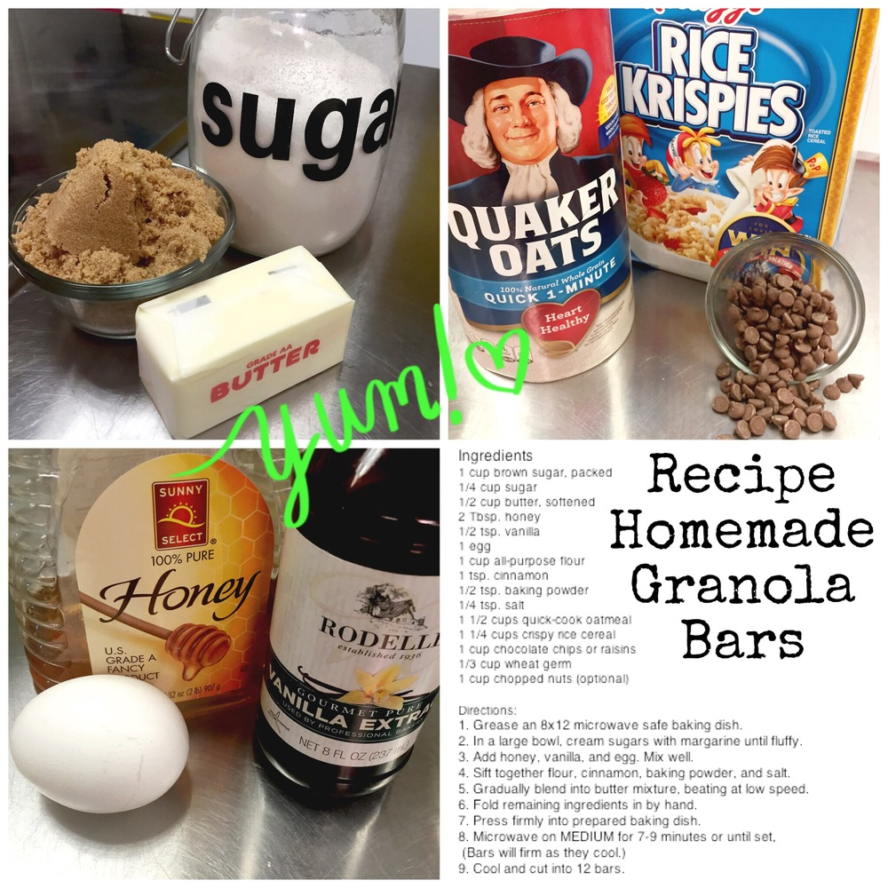 Easy to make Granola Bars in the microwave. Gather your ingredients and let the kiddos help you in the kitchen. Recipe on www.ChefShayna.com