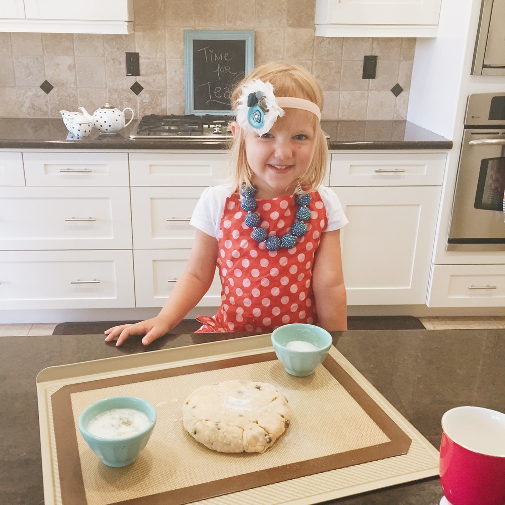 Toddler Tuesday: Making Oatmeal Chocolate Chip Scones for afternoon Snack. Recipe on www.ChefShayna.com